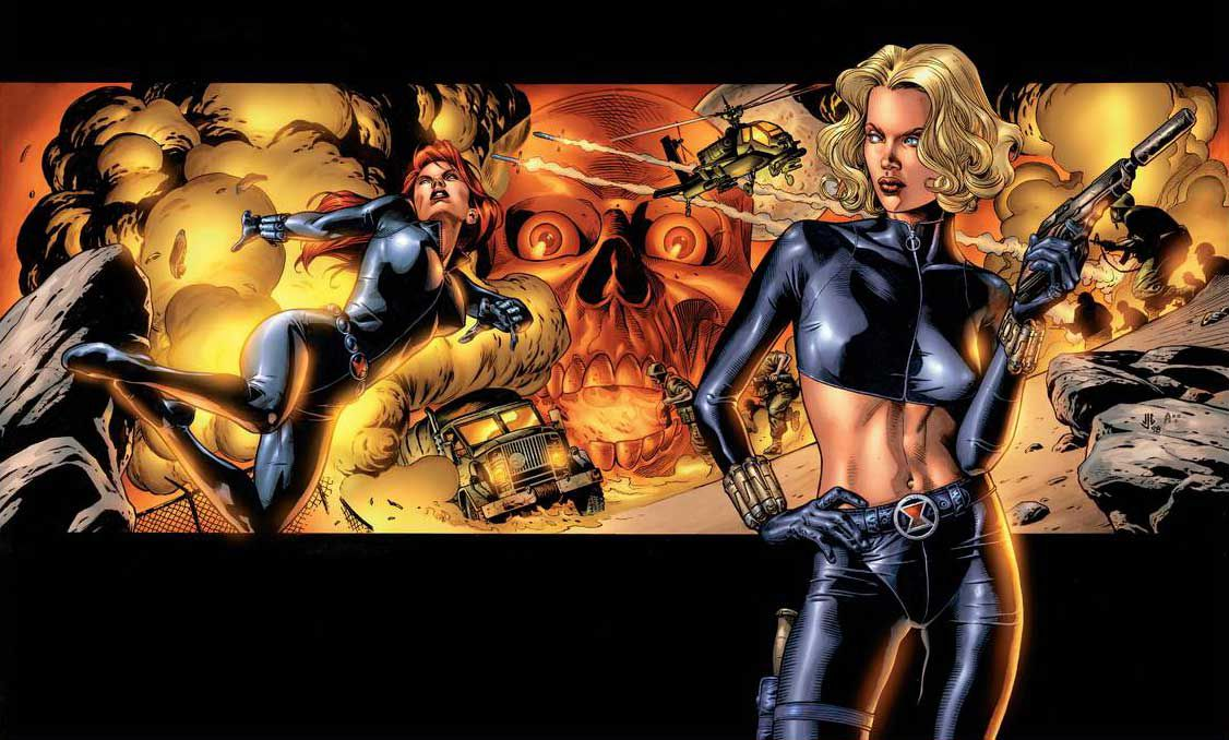 Yelena Belova, wearing a Black Widow outfit, shows a gun. Behind her, Natasha Romanoff / Black Widow makes a collage of explosions and enemies, in an enveloping variant of Black Widow # 1, Marvel Comics (1999).